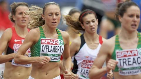 Kerry O'Flaherty tracks team-mate Sara Treacy in the 3,000m steeplechase heats at the European Championships