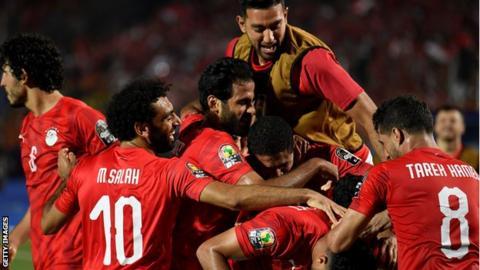 Egypt celebrate their goal against Zimbabwe