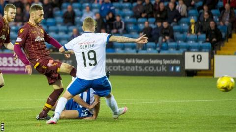 Motherwell's Louis Moult prods the ball home