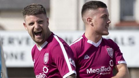 Bobby Linn celebrates an Arbroath goal