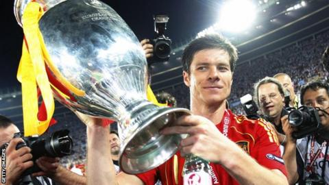 Xabi Alonso with the European Championship trophy