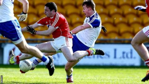 Barry McGinn fires in Monaghan's goal in the semi-final defeat by Cork