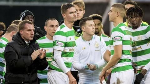 Brendan Rodgers addresses his disappointed Celtic players after Hearts halt their unbeaten run