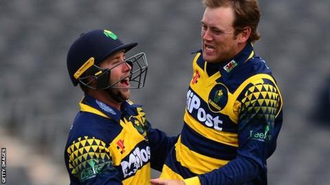 Colin Ingram of Glamorgan celebrates the wicket of Graeme Van Buuren