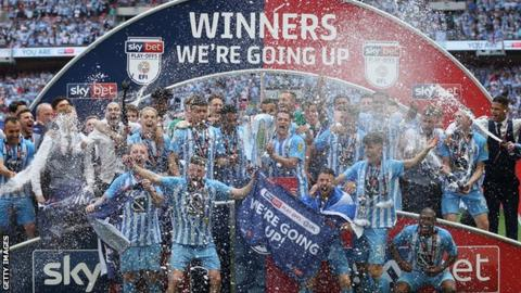 Coventry City celebrate promotion