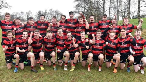 Rainey Endowed from Magherafelt celebrate their 12-10 victory over Royal School Armagh in the Schools' Cup