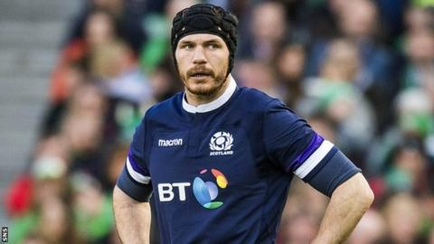 Tim Swinson in action for Scotland against Ireland in this year's Six Nations