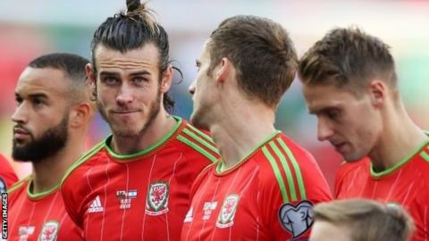Wales team, including Gareth Bale