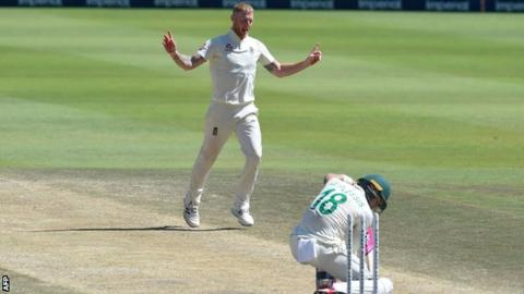 England all-rounder Ben Stokes celebrates after dismissing South Africa captain Faf du Plessis