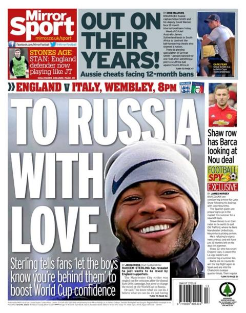 Mirror back page on Tuesday