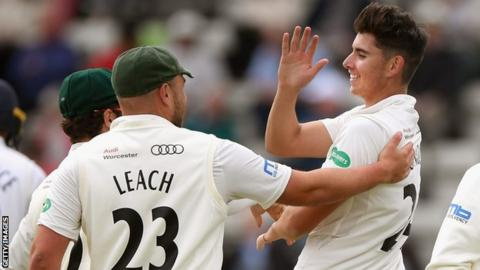 Worcestershire's Josh Tongue celebrates a wicket