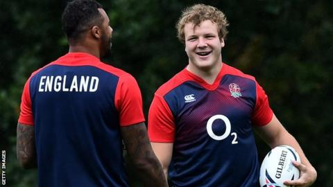 Courtney Lawes, left, in England training with Joe Launchbury, right