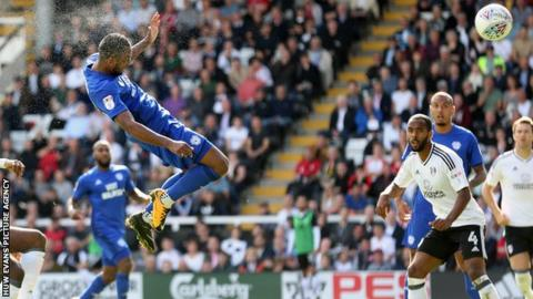 Action shot from Fulham v Cardiff