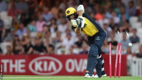 Glamorgan opener David Lloyd was one of three victims for Surrey bowler Tom Curran