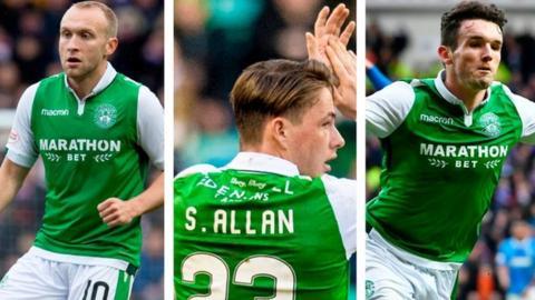 Hibernian midfielders Dylan McGeouch, Scott Allan and John McGinn