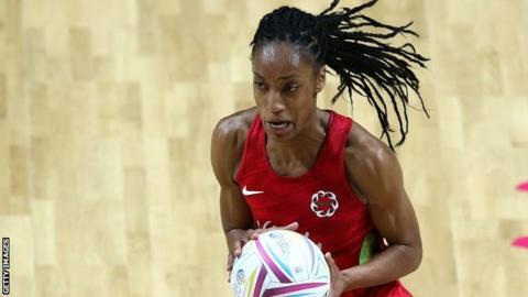 England defender Layla Guscoth in action on the court