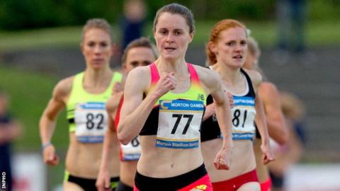 Ciara Mageean on her way to winning the women's mile at the Morton Games