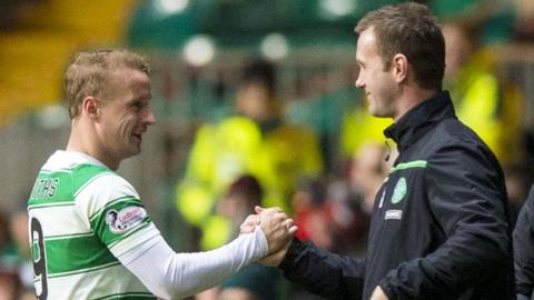 Celtic's Leigh Griffiths and Ronny Deila