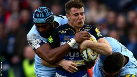 Bath's Ollie Devoto is tackled