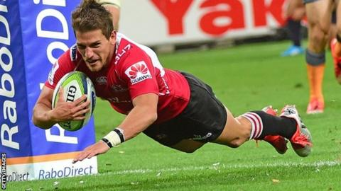Marnitz Boshoff scores a try for the Lions against Melbourne Rebels in Super Rugby