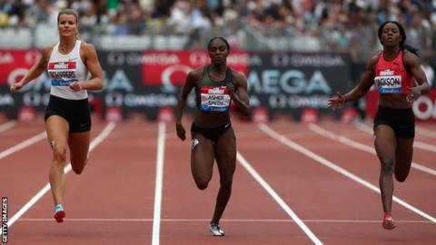 Britain's Dina Asher-Smith competing in the 100m