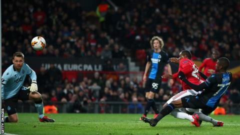 Odion Ighalo scoring his first Manchester United goal during the 5-0 win over Club Bruges