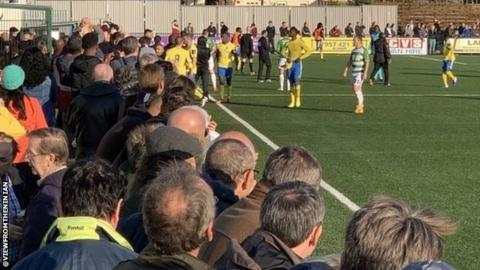 Haringey players walked off the pitch