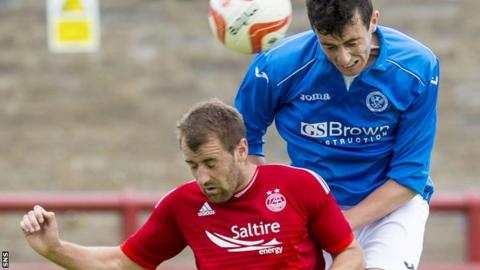 Joe Shaughnessy (right) battles with former club Aberdeen in Sunday's friendly