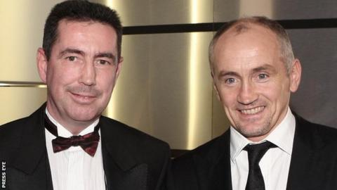 Dave McAuley pictured with Carl Frampton's manager Barry McGuigan in 2008
