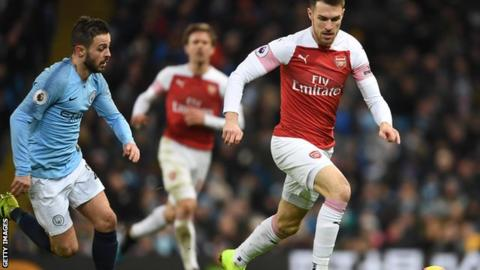 Aaron Ramsey against Manchester City
