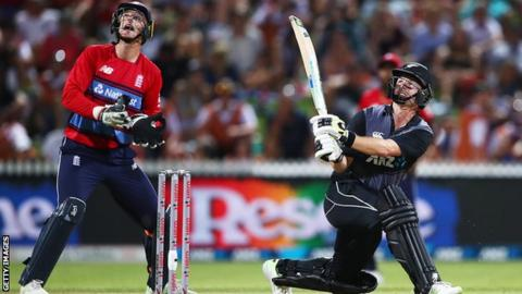 New Zealand opener Colin Munro hits as six in defeat by England