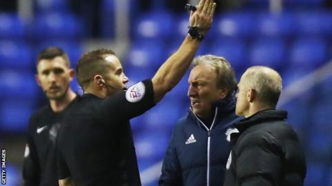 Neil Warnock is sent off by match referee Steve Martin