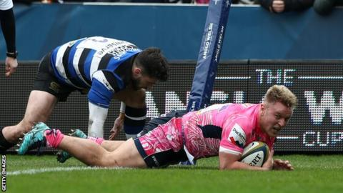 Jack Innard scores Exeter's opening try against Bath in the Anglo-Welsh Cup final