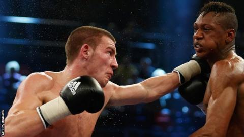 Liam Williams lines up a punch against Yuri Pompilio in Germany in 2014