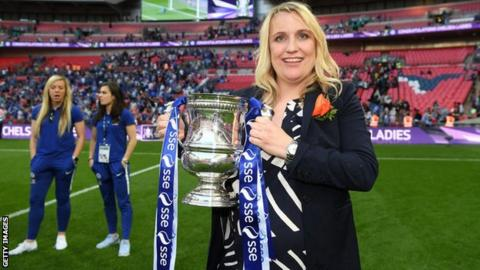 Emma Hayes with the FA Cup trophy in 2018 at Wembley