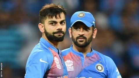 India players Virat Kohli (left) and MS Dhoni
