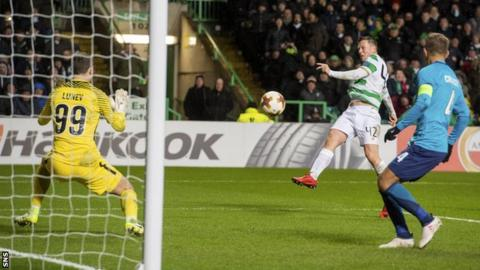 Celtic midfielder Callum McGregor scores against Zenit