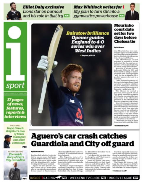 The I sport section on Saturday