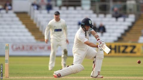 Durham's BJ Watling kept his concentration during a rain-affected day to reach his hundred