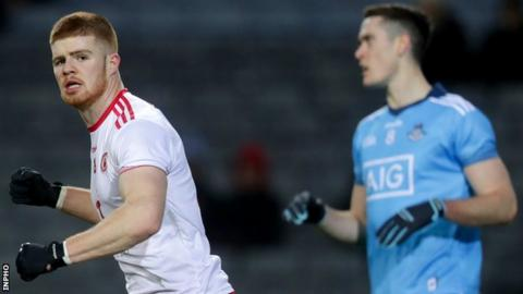 Cathal McShane celebrates after scoring's Tyrone early goal at Croke Park
