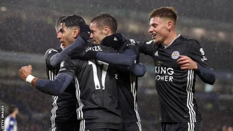 Leicester celebrate scoring at Brighton