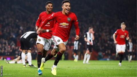 Mason Greenwood celebrates scoring for Manchester United against Newcastle United