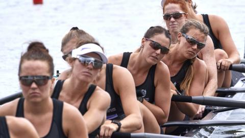 POZNAN, POLAND - JUNE 21: (bow) Ruby Tew, Emma Dyke, Lucy Spoors, Kelsey Bevan of New Zealand compete Womens Eight (W8+) during 2019 World Rowing Cup II on June 21, 2019 in Poznan, Poland. (Photo by ADAM NURKIEWICZ/Getty Images)
