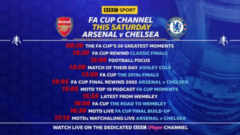 FA Cup final schedule: 08:30 The FA Cup's 50 Greatest Moments; 10:30 FA Cup Rewind - Classic Finals; 12:30 Football Focus; 13:00 Match of their Day - Ashley Cole; 13:50 FA Cup - the 2010s finals; 14:05 FA Cup Rewind - Arsenal v Chelsea 2002; 15:05 MOTD Top 10 Podcast - FA Cup Moments; 15:55 Latest from Wembley; 16:00: FA Cup - the road to Wembley; 16:30 MOTD Live - FA Cup final build-up; 17:15 MOTDx Watchalong Live - Arsenal v Chelsea