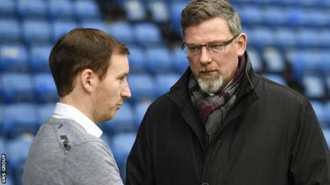 Hearts head coach Ian Cathro and director of football Craig Levein