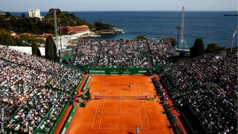 A general view of Court Rainier III as Rafael Nadal of Spain plays Grigor Dimitrov in the 2019 Monte Carlo Open