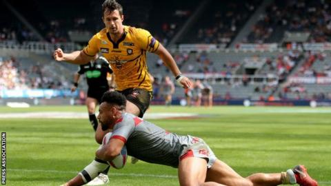 Salford old boy Jodie Broughton's hat-trick was the difference between the two sides at St James' Park