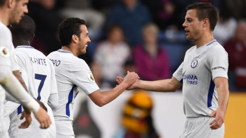 Pedro and Cesar Azpilicueta of Chelsea