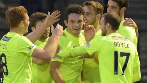 Hibs players celebrate John McGinn's stunning strike