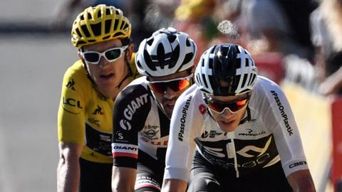 Geraint Thomas, Tom Dumoulin and Chris Froome